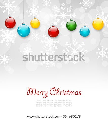 Illustration Christmas Greeting Card with Colorful Balls - raster - stock photo