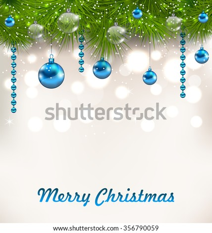 Illustration Christmas Shimmering Background with Fir Twigs and Glass Balls - raster - stock photo