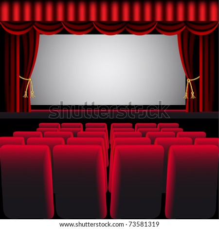 illustration cinema hall with red curtain and easy chair - stock photo