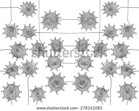 illustration circle spirals flowers simple drawing pattern A