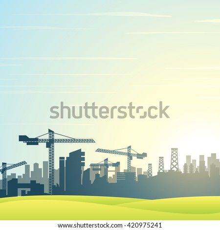 illustration. City Skyline. Modern Buildings Construction - stock photo