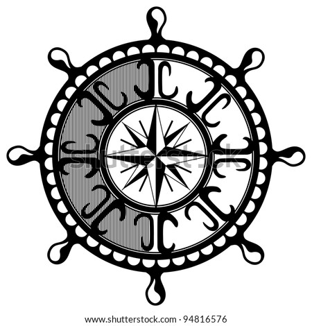 illustration - Classical wooden ship's wheel of the type used on large sailing vessels - stock photo
