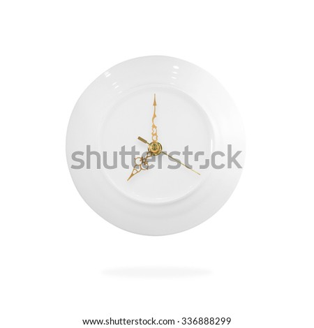 Illustration clock and plate. Eat time. Time to eat. Dinner time. Diet time. Hungry time. Cooking time. Lunch time. Meal time. Clock and plate on white background. Eat symbol. Diet meal. Hungry Hours. - stock photo