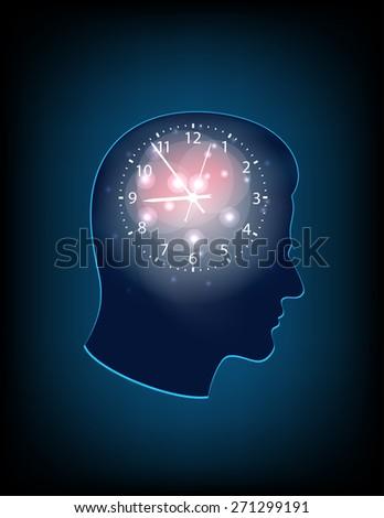 illustration clock brain  - stock photo