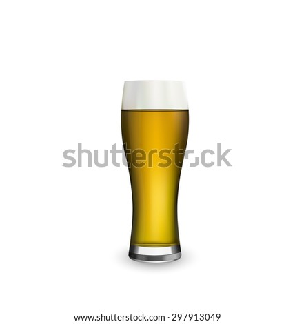 Illustration close up realistic glass of beer isolated on white background - raster