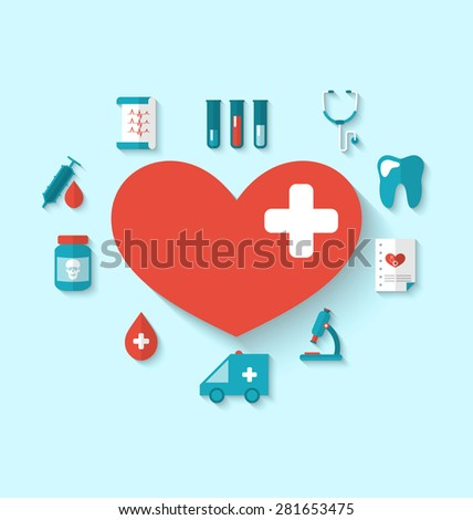 Illustration collection modern flat icons of hearts and medical elements, simple style with long shadow - raster
