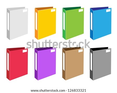 Illustration Collection of Colorful File Folder Icons or Office Fol oder Icons for Backups and Storing of Data - stock photo