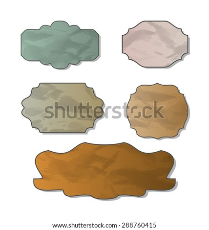 Illustration collection of various crumpled pieces of paper - raster - stock photo