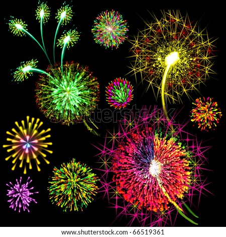 Illustration color festive firework on black background - stock photo