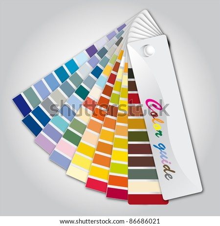 Illustration color guide on the grey background - stock photo