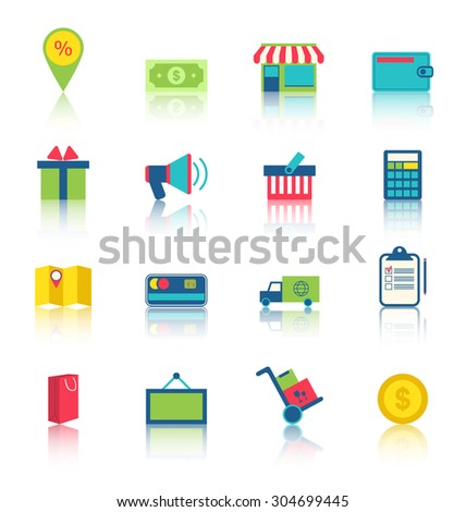 Illustration Colorful Simple Icons of E-commerce Shopping Symbol, Online Shop Elements and Commerce Item - raster - stock photo