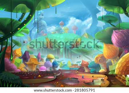 Illustration: Comes to the Ant Planet - Scene Design - Fantastic Style - stock photo