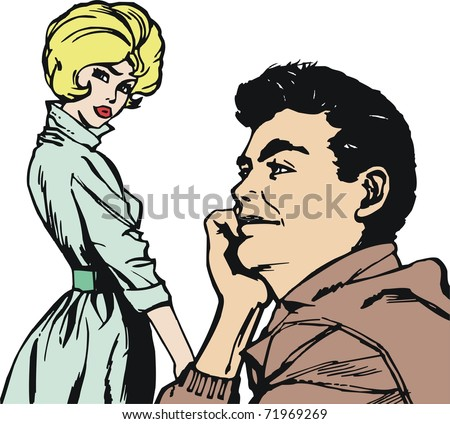 Illustration Common life of a pair of lovers - stock photo