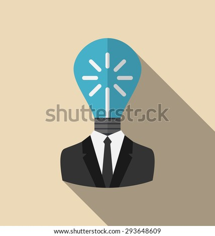 Illustration Concept Lamp of New Idea as out of Head Businessman, Flat Icon with Long Shadow - raster - stock photo