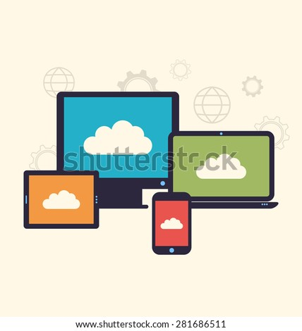 Illustration concept of cloud service and mobile devices, trendy flat style - raster - stock photo