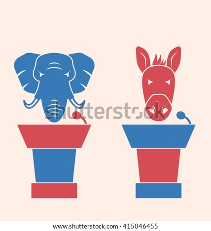 Illustration Concept of Debate Republicans and Democrats. Donkey and Elephant as a Orators Symbols Vote of USA. Retro Style Design - raster - stock photo