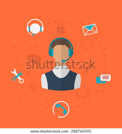 Illustration concept of 24h online available customer support, help desk male operator service - raster - stock photo