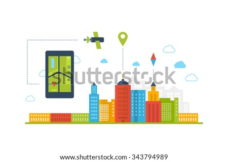 Illustration concept of  holding smart-phone with mobile navigation. Flat design modern vector illustration icons set of urban landscape and city life. Building icon.