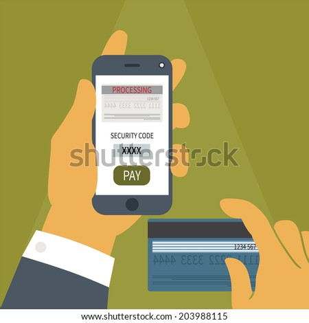 Illustration concept of mobile payment application from credit bank card on smartphone screen in man hand. Rasterized bitmap version. - stock photo