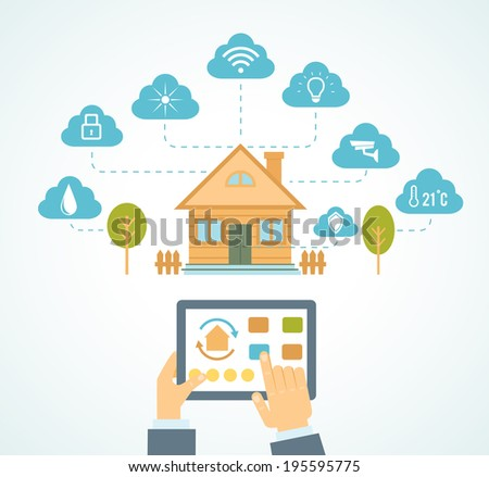 illustration concept of smart house technology system with centralized control - stock photo