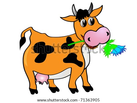 illustration cow with flower is insulated on white - stock photo