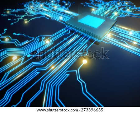 illustration cpu computer technology, electronic concept. - stock photo