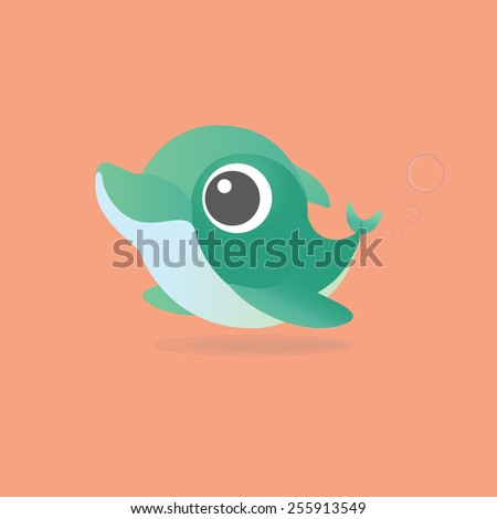 Illustration - Cute little mint dolphin on peach background with 3 bubbles - stock photo