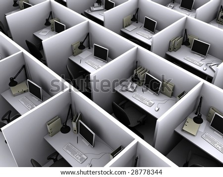 Illustration 3D of grey office for routine work - stock photo