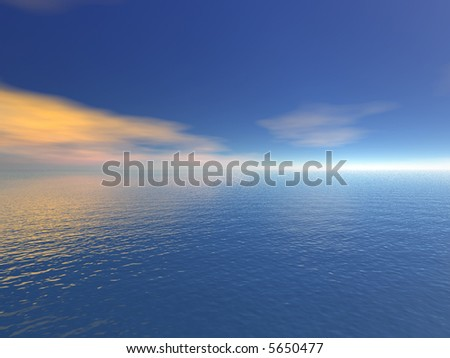 Illustration 3d: view of the sea - stock photo