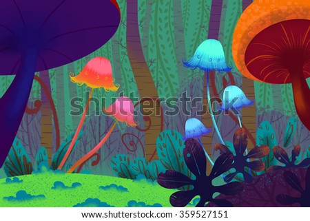 Illustration: Dark Mushroom Forest. Realistic Fantastic Cartoon Style Artwork Scene, Wallpaper, Game Story Background, Card Design  - stock photo