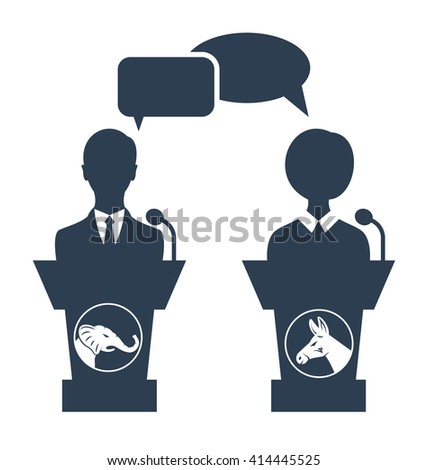 Illustration Debate of Republican vs Democrat. People Icons Isolated on White Background - raster - stock photo