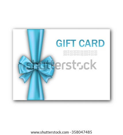 Illustration Decorated Gift Card with Blue Ribbon and Bow, Gift Voucher Template, Certificate Design - raster - stock photo