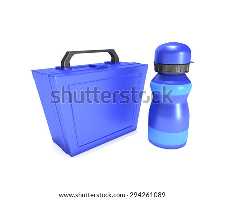 Illustration depicting a blue childs lunchbox and flask arranged over white. - stock photo