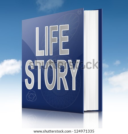 Illustration depicting a book with a life story concept title. Sky background.