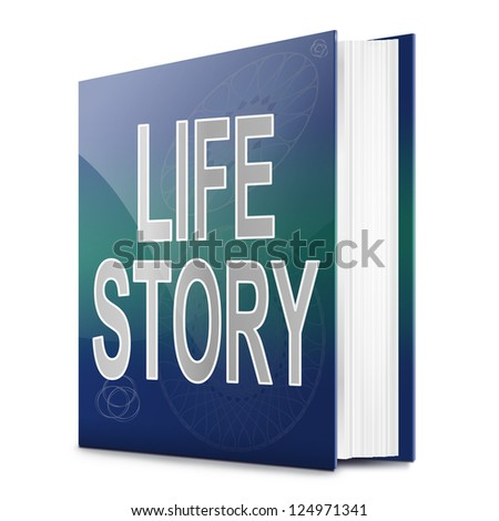 Illustration depicting a book with a life story concept title. White background.