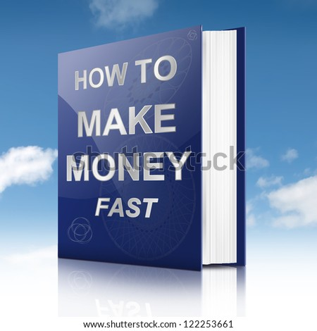 Illustration depicting a book with a making money concept title. Sky background.
