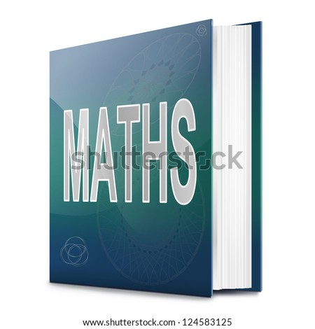 Illustration depicting a book with a maths concept title. White background. - stock photo