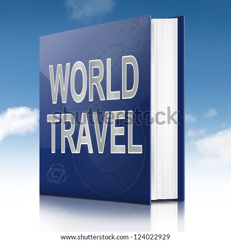 Illustration depicting a book with a world travel concept title. Sky background.
