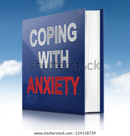 Illustration depicting a book with an anxiety concept title. Sky background.