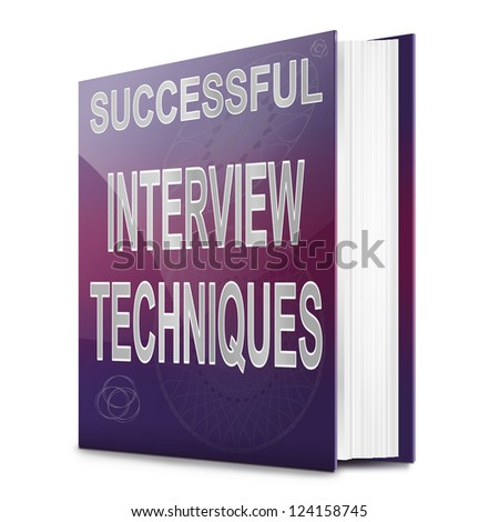 Illustration depicting a book with an interview technique concept title. White background. - stock photo