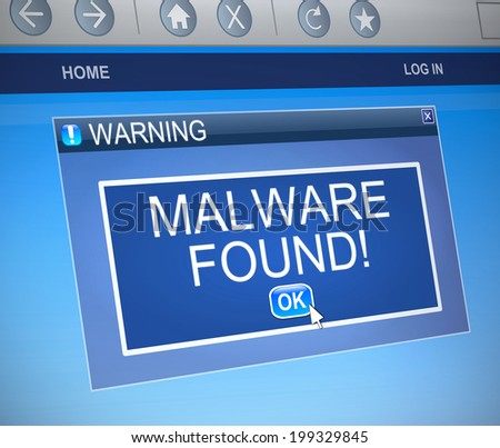 Illustration depicting a computer dialog box with a malware concept. - stock photo