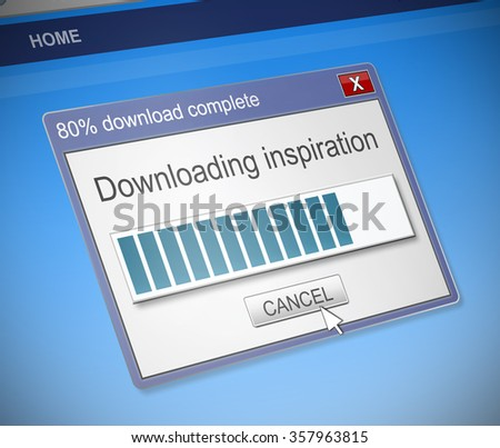 Illustration depicting a computer dialog box with an inspiration concept. - stock photo