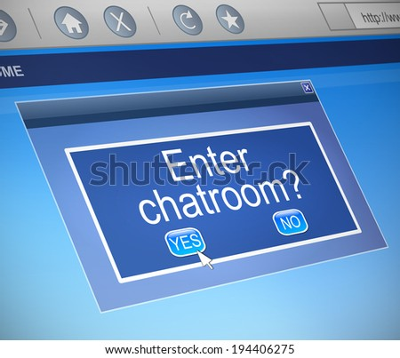 Illustration depicting a computer dialogue box with a chatroom concept. - stock photo