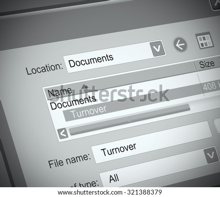 Illustration depicting a computer file with a turnover concept.