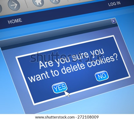 Illustration depicting a computer message box with a cookies concept. - stock photo
