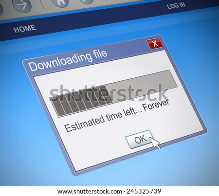 Illustration depicting a computer message box with a slow download concept. - stock photo
