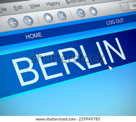 Illustration depicting a computer screen capture with a Berlin concept. - stock photo