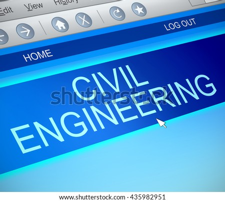Illustration depicting a computer screen capture with a civil engineering concept. - stock photo