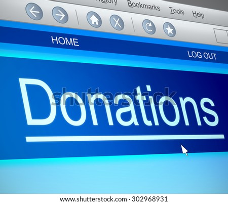 Illustration depicting a computer screen capture with a donation concept. - stock photo