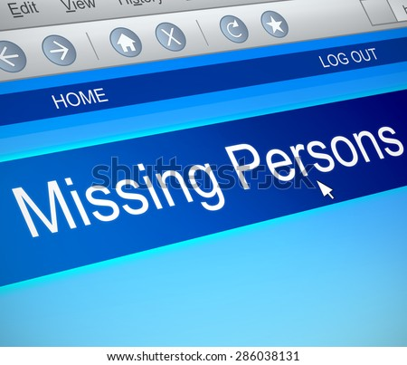 Illustration depicting a computer screen capture with a missing persons concept. - stock photo
